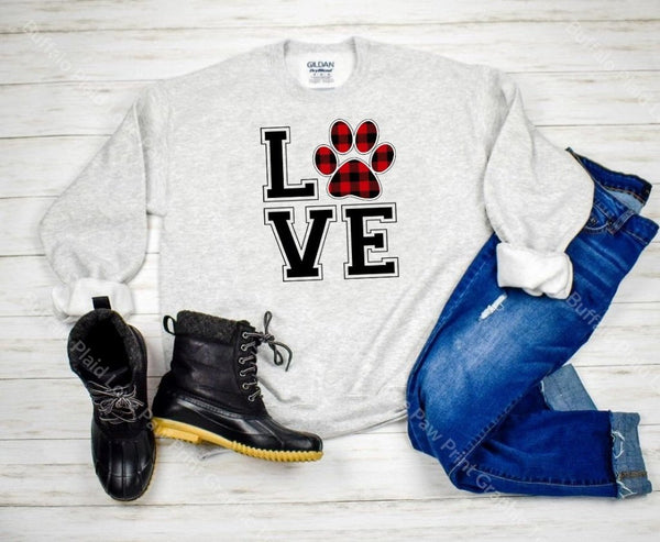 Buffalo Plaid Love Paw Print Graphic Tee Graphic Tee