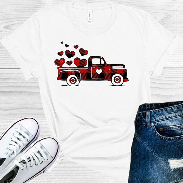 Buffalo Plaid Vintage Truck With Hearts Valentines Day Graphic Tee Graphic Tee