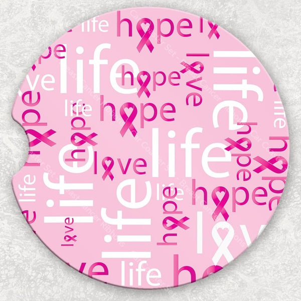 Car Coaster Set - Breast Cancer Ribbons