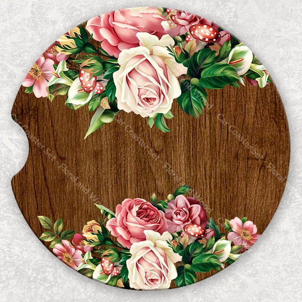 Car Coaster Set - Floral And Wood