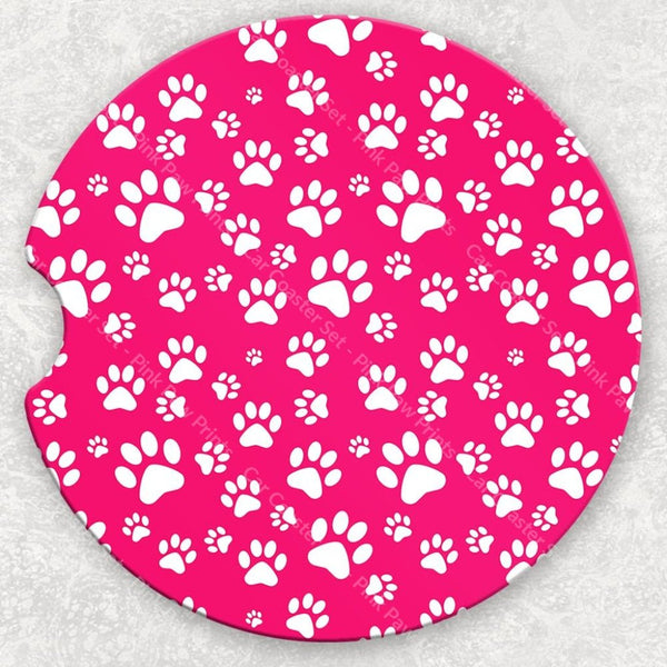 Car Coaster Set - Pink Paw Prints