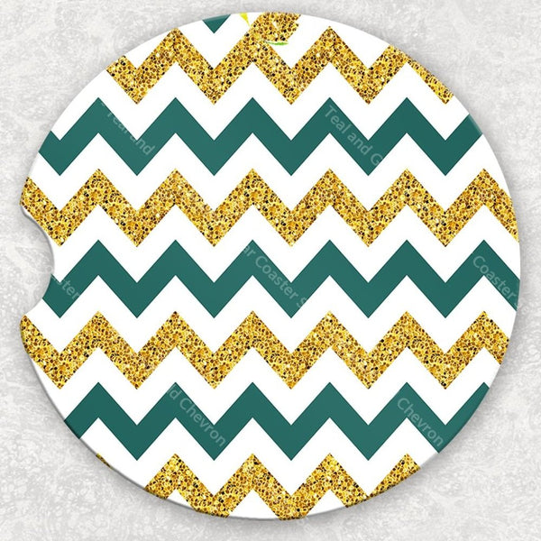 Car Coaster Set - Teal And Gold Chevron