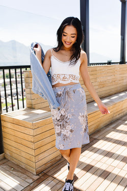 Casual Floral Drawstring Skirt