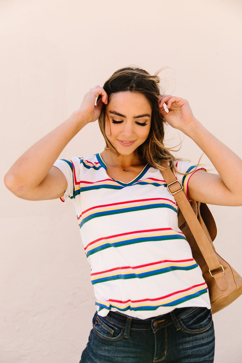 Double Rainbow Striped Top