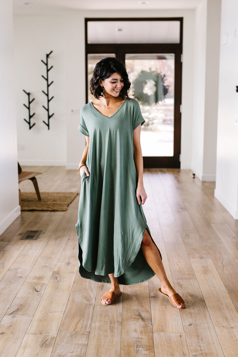 Free And Easy Maxi Dress In Light Olive