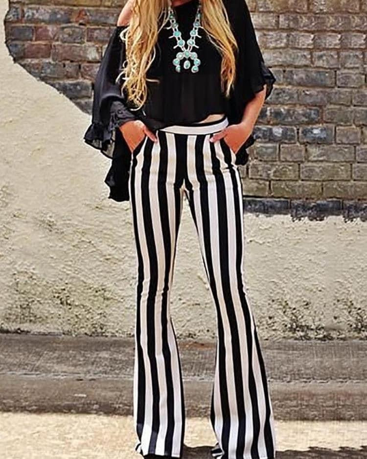 Black and White stretchy flares XL