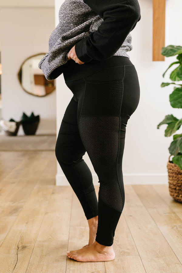 Fishnet Panel Athletic Leggings