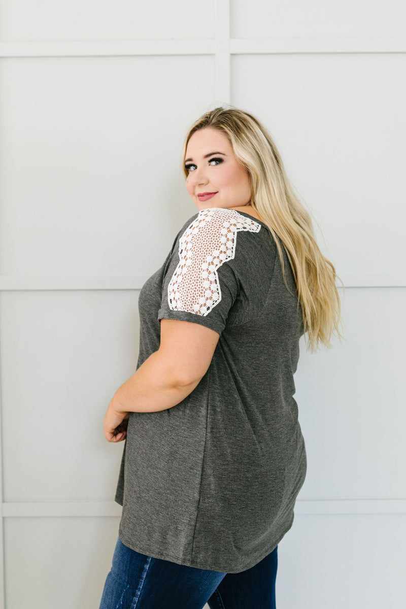 Lace Up The Sleeve Top In Charcoal