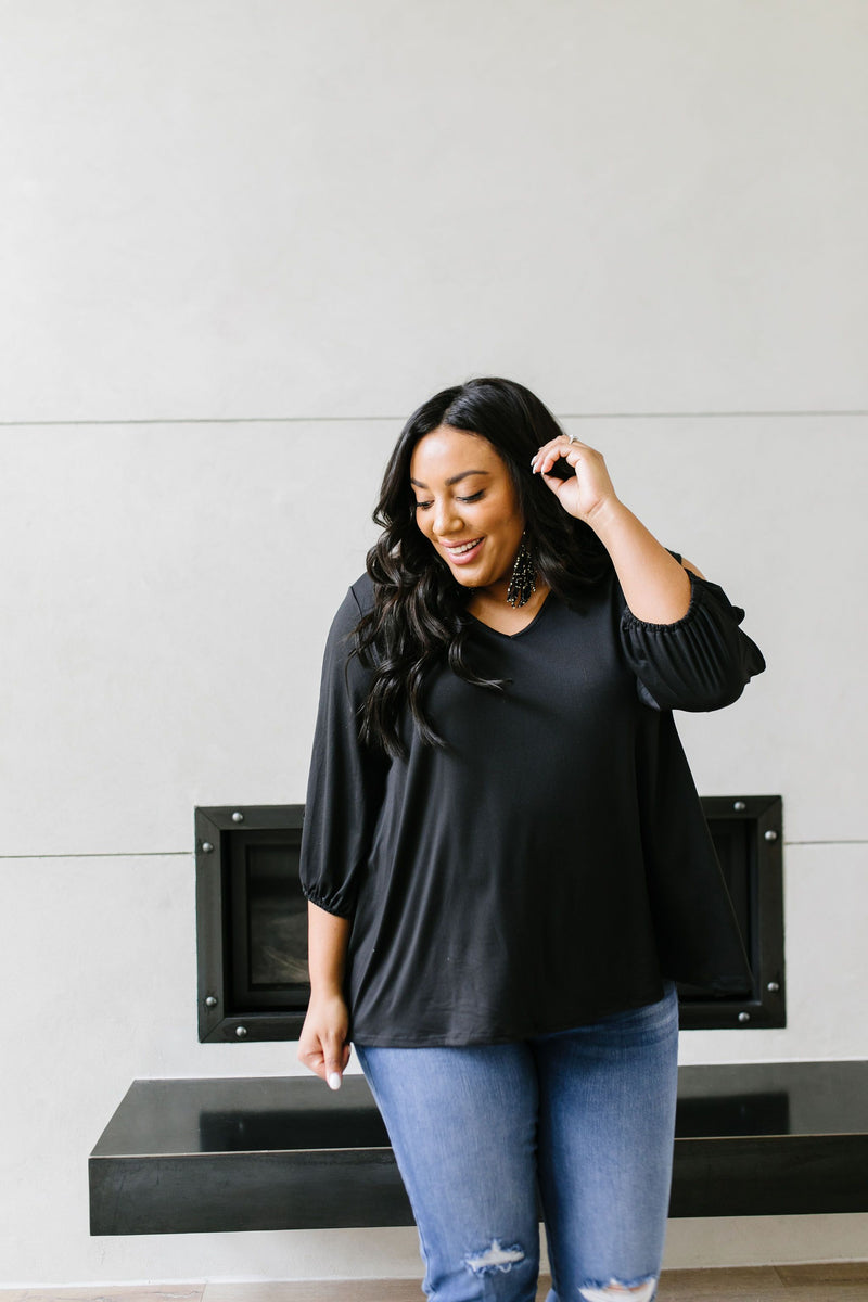 Lickity Split Sleeve Blouse In Black