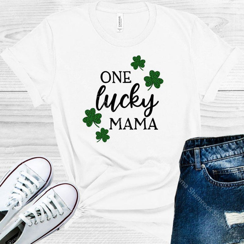 One Lucky Mama Shamrock St. Patricks Day Graphic Tee Graphic Tee