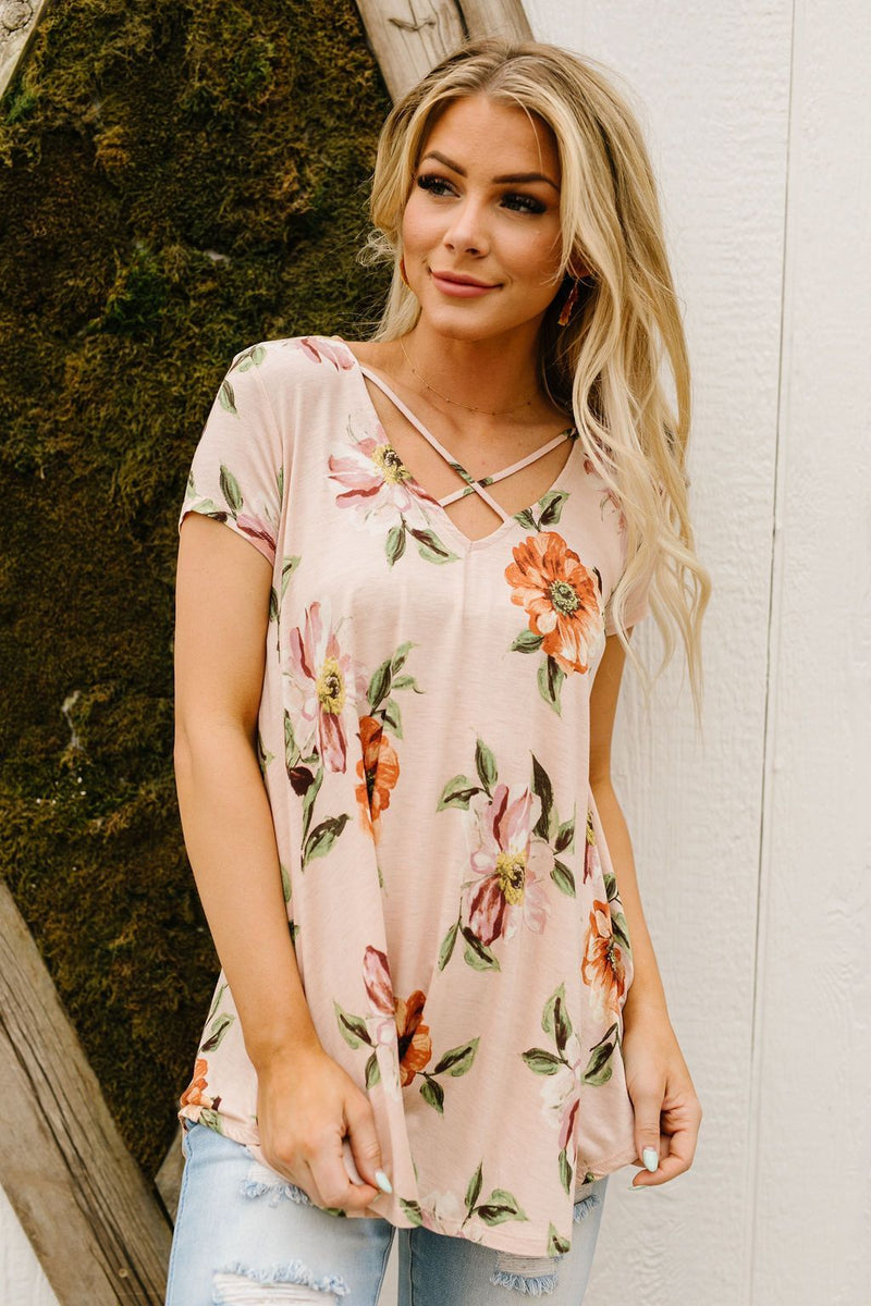Peach Magnolias Criss Cross Top