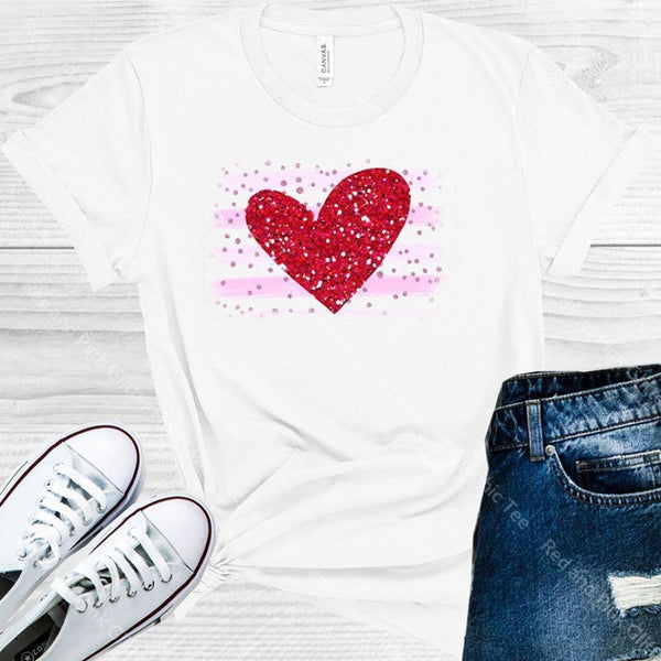 Red And Pink Glitter Heart Graphic Tee Graphic Tee