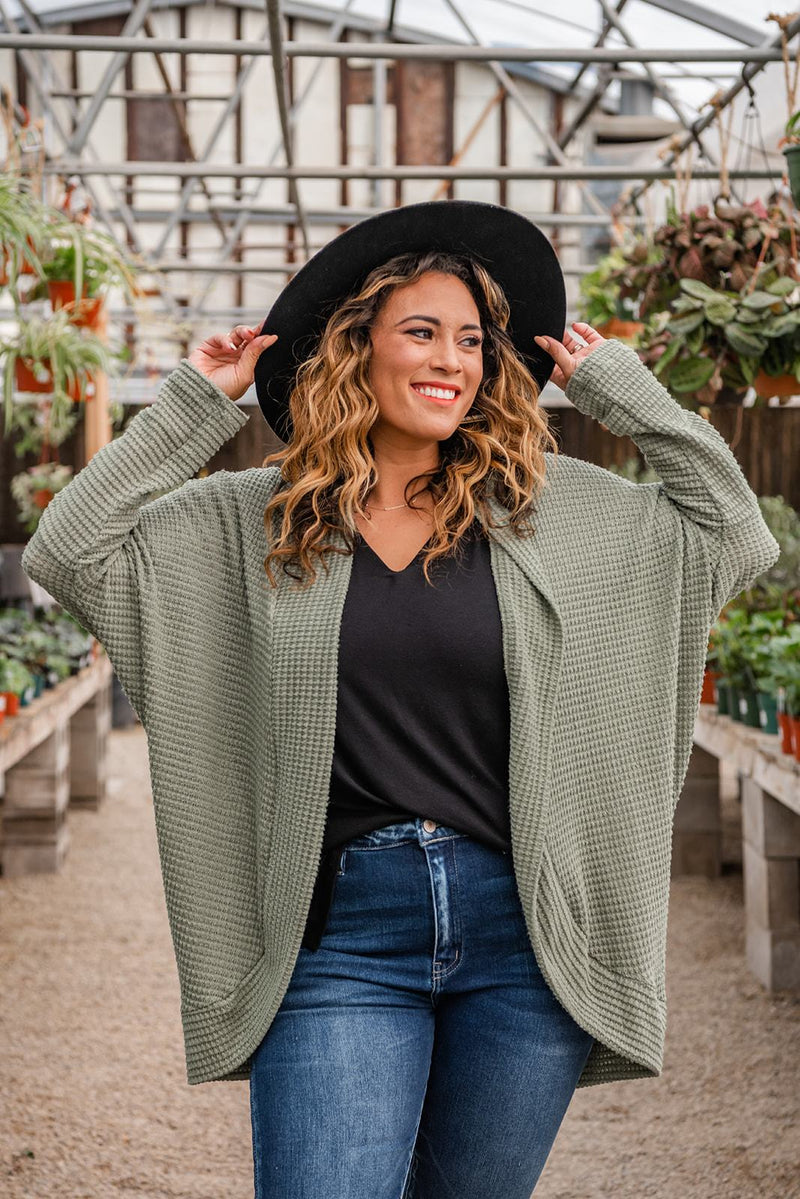 Easy Days Ahead Waffle Knit Cardigan