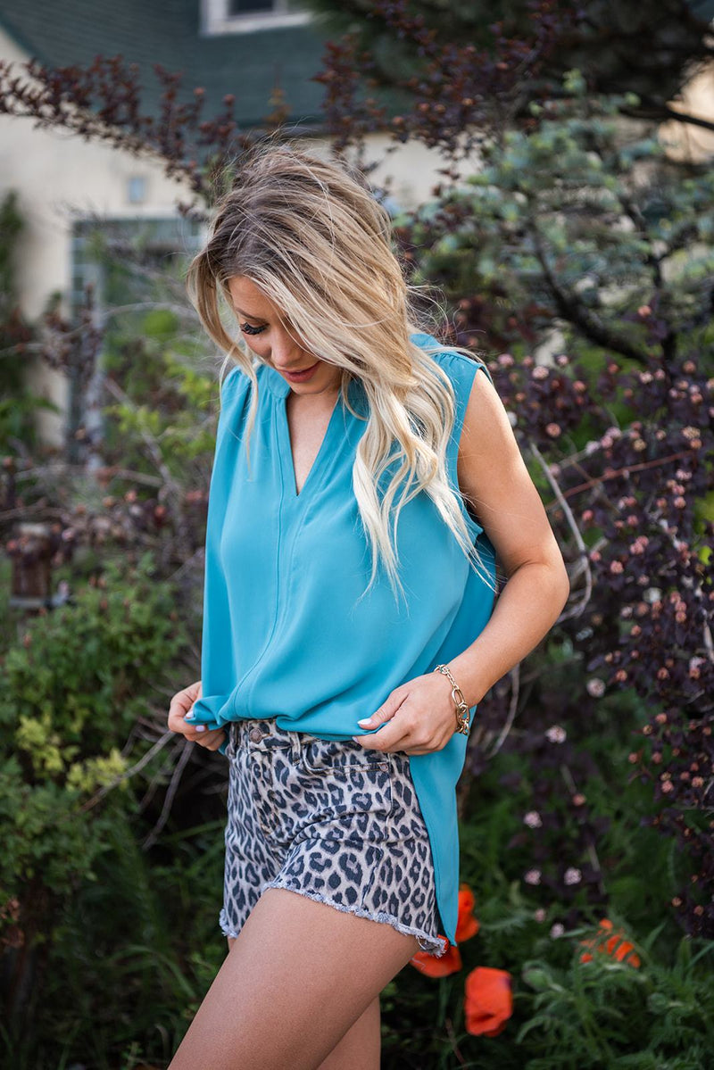 Worth A Shot Sleeveless Top- Dusty Teal