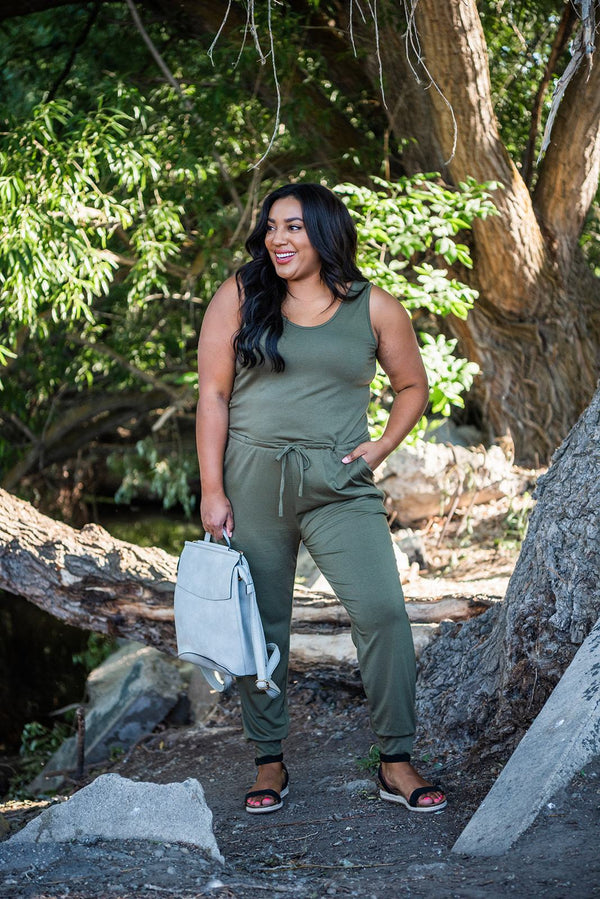 Feel The Sun Jumpsuit- Olive