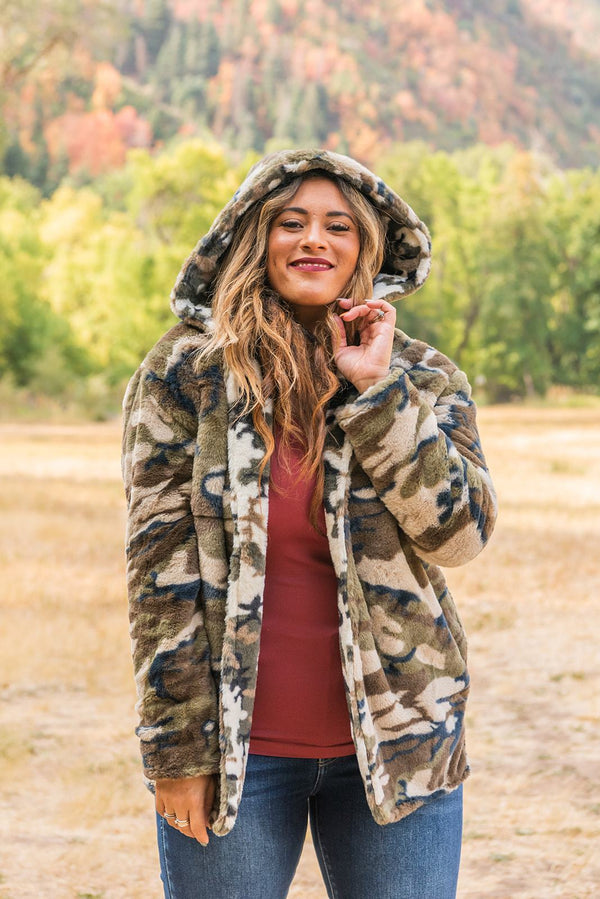 Mayhem In Manhattan Teddy Coat- Camo