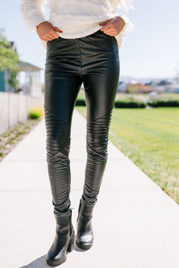 Rock 'n' Roll Vegan Leather Moto Leggings
