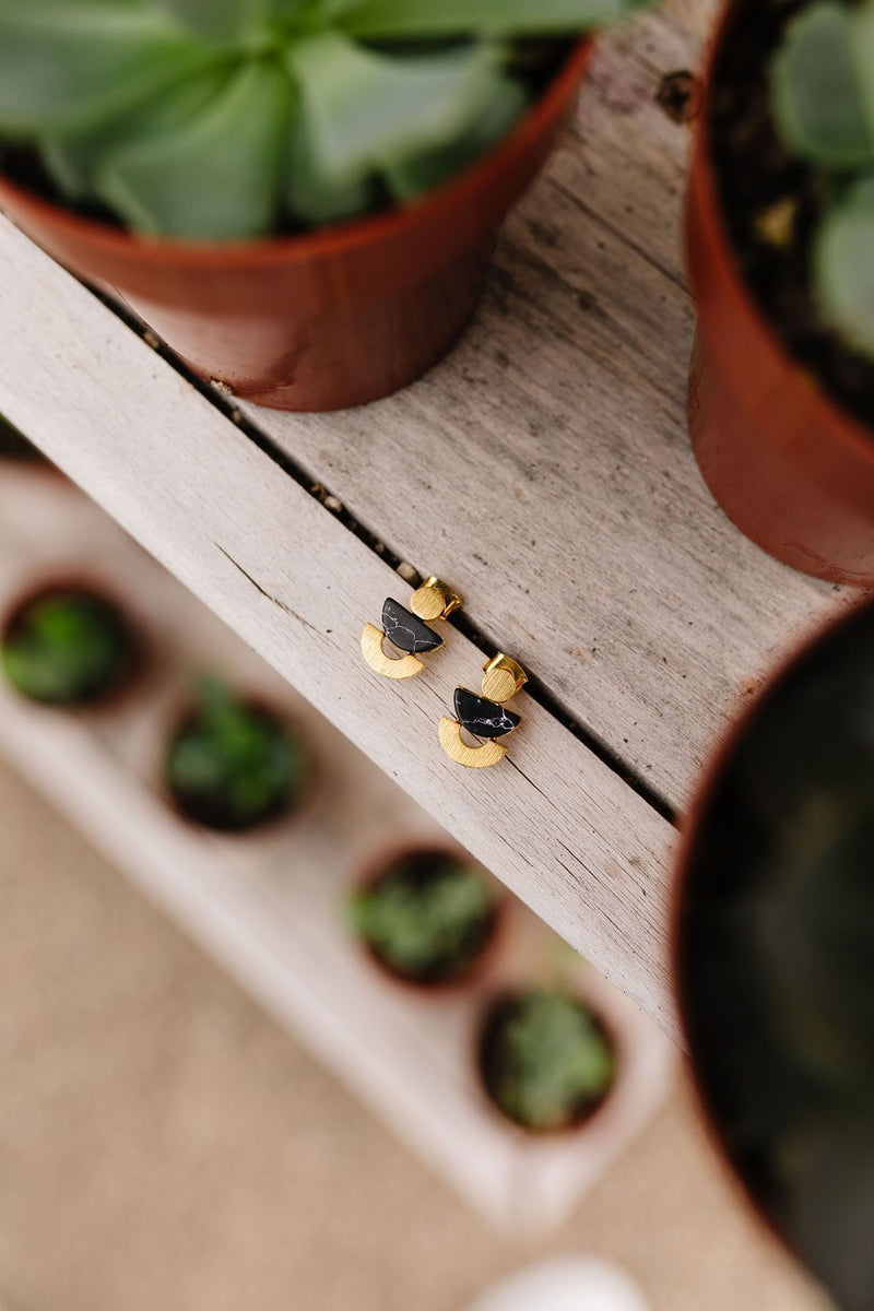 Shape Up Black & Gold Earrings