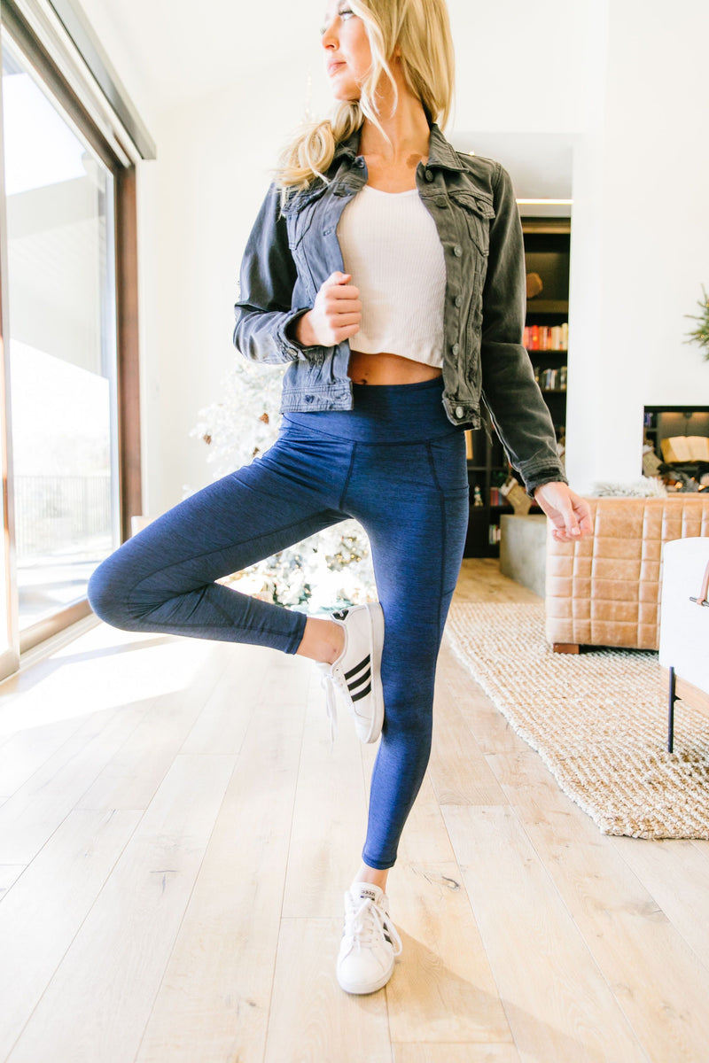 Tadasana Two-Tone Leggings In Navy