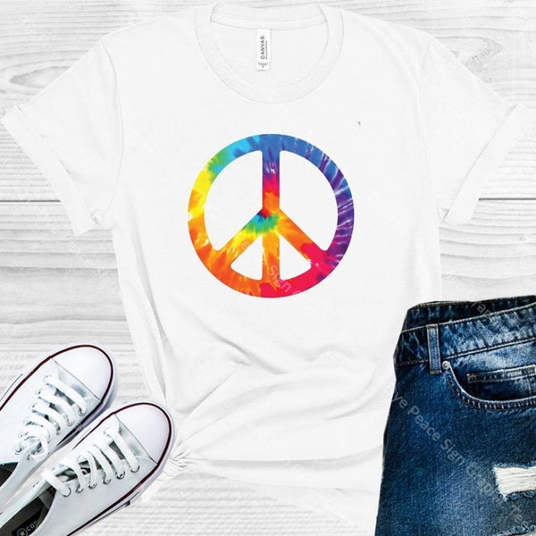 Tie Dye Peace Sign Graphic Tee Graphic Tee