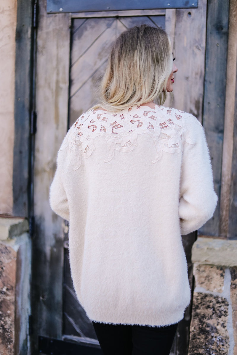 Topped With Lace Furry Sweater