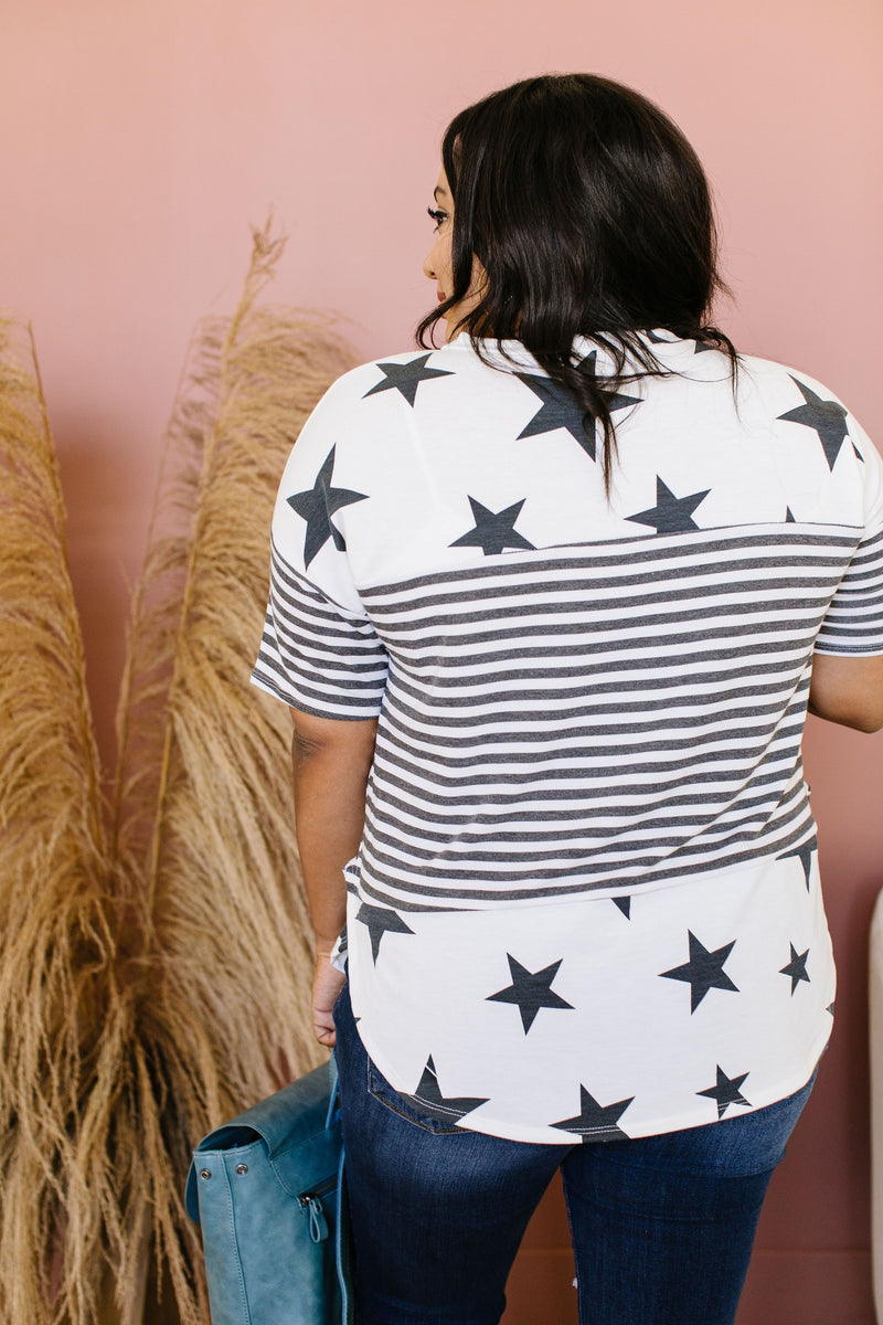 Stripes & Stars Black & White Top