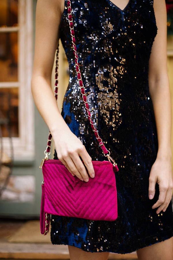Velvet Chevron Crossbody Clutch In Fuchsia