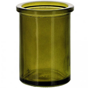 "5.5oz Candle Round Vintage Green Glass ""Woderwood"""