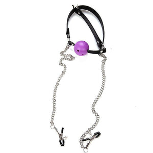 Ball Gag with Attached Nipple Clamps