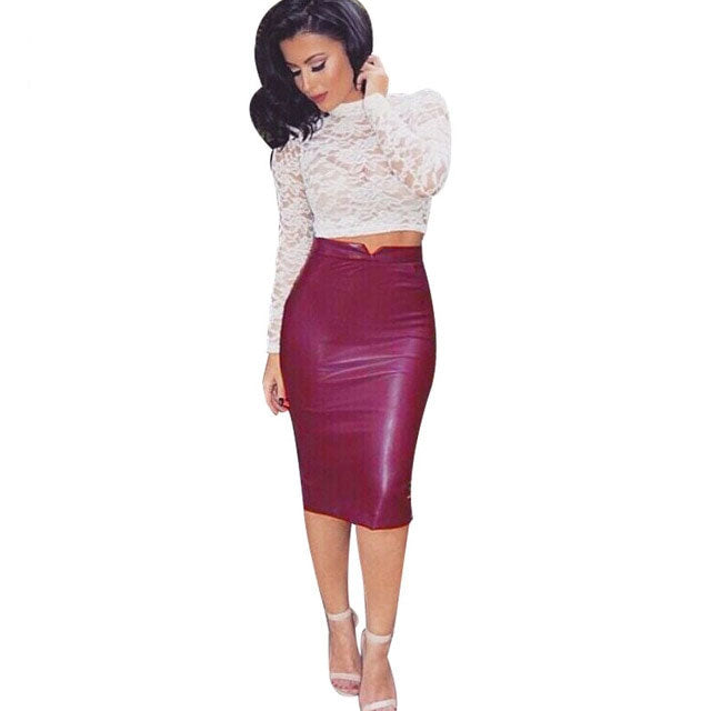 Women Pu Leather High Waist Pencil Skirt