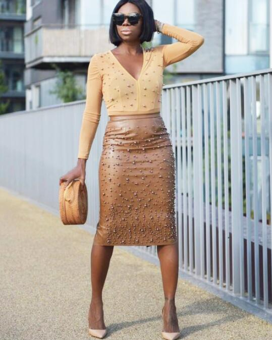Sexy  Embellished High Waist Pencil Skirt