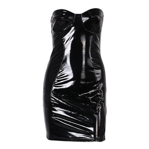 Rosetic Sexy Reflective Backless Strapless Gothic PU Leather