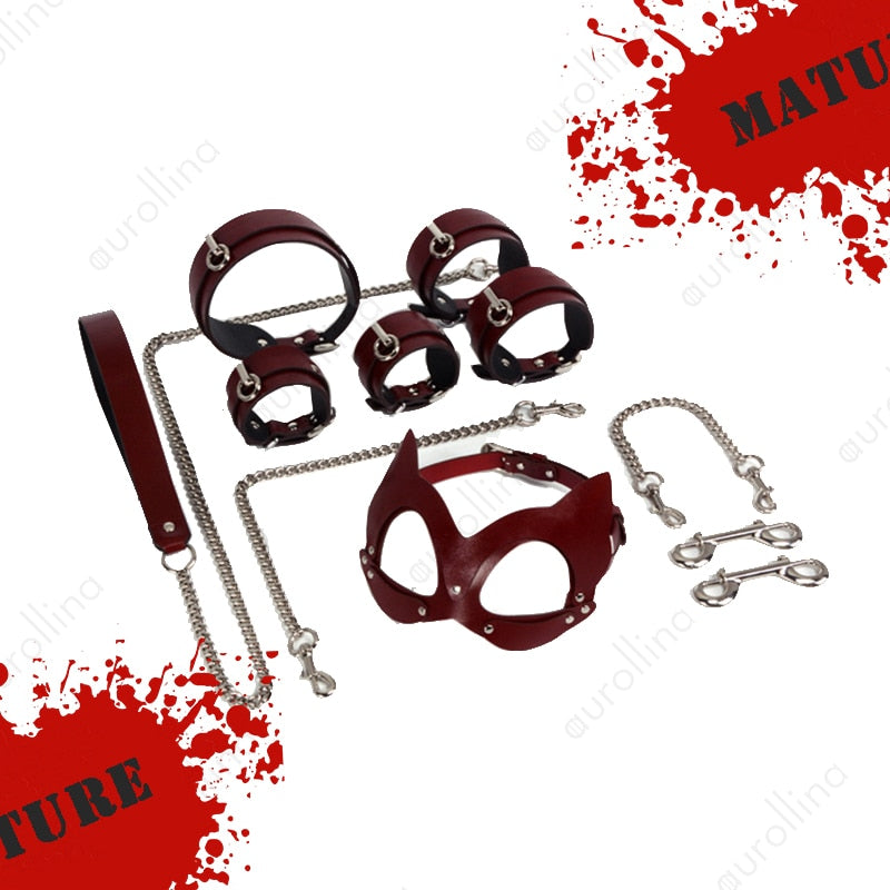 leather bondage kit, leather bondage set
