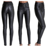 Women stretchy faux leather pants, skinny high waist