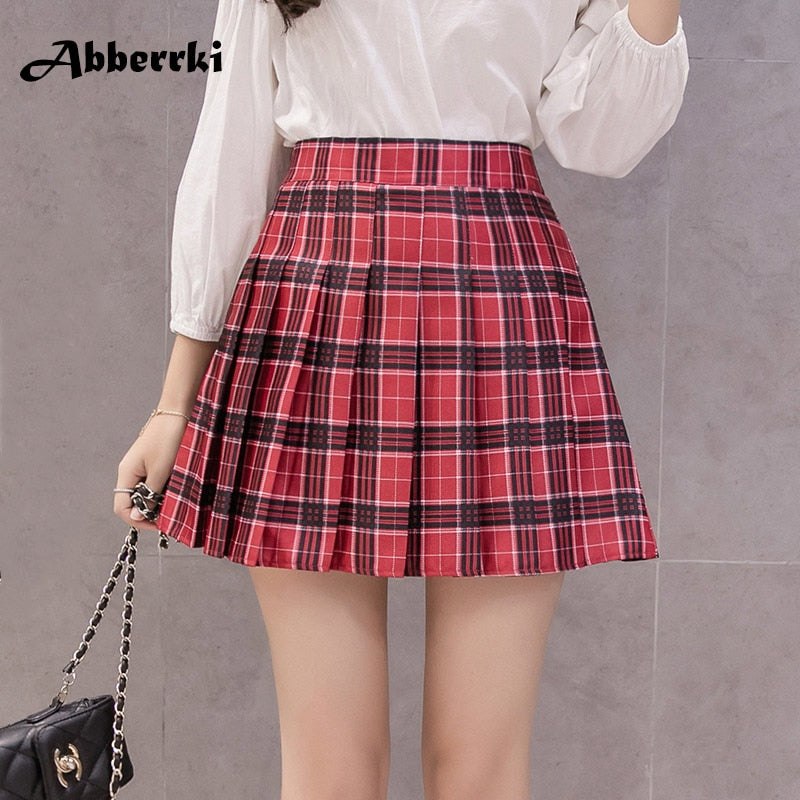 School Girl Pleated Plaid Skirt