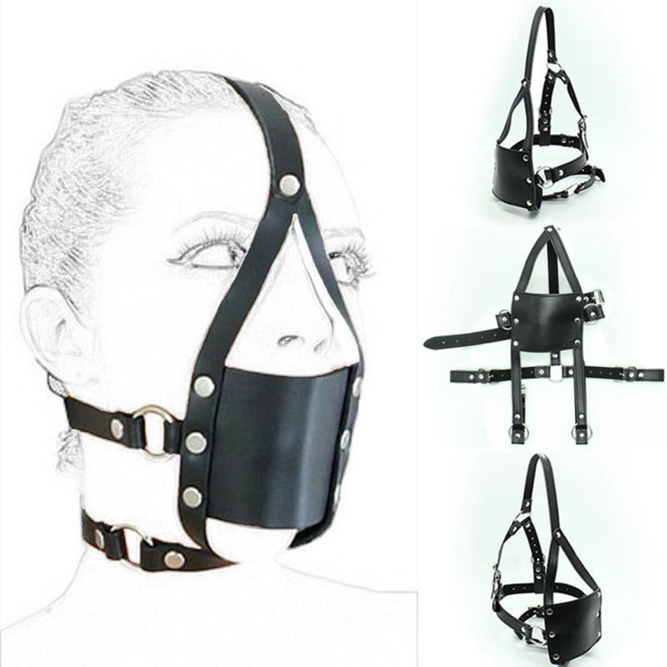 PU Leather Open Mouth Gag Head Harness