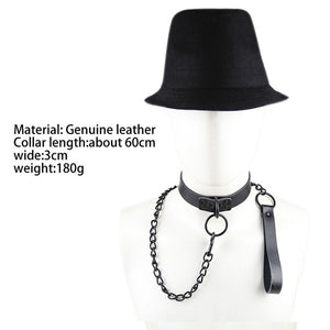 Sexy Genuine Leather Sex Necklace