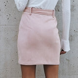 Women high waist sash pink skirts Autumn