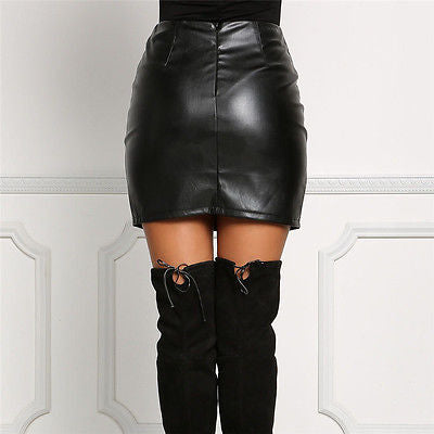 Leather Pencil High Waist Lace Up Skirt