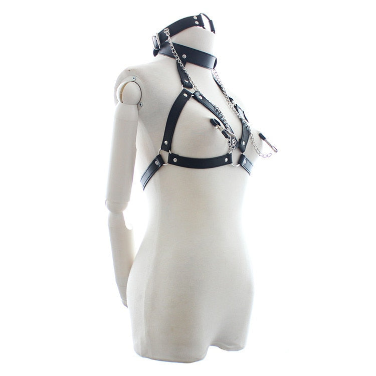 PU Leather Bondage Set with Harness