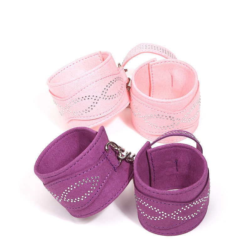 Genuine Leather Adjustable Handcuffs Pink/Violet