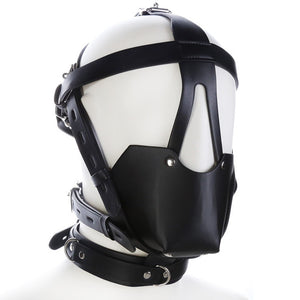 Genuine Leather Head Harness With Ball Mouth Gag