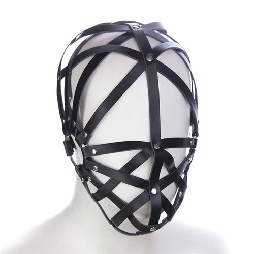 Genuine Leather Bondage Harness Hood