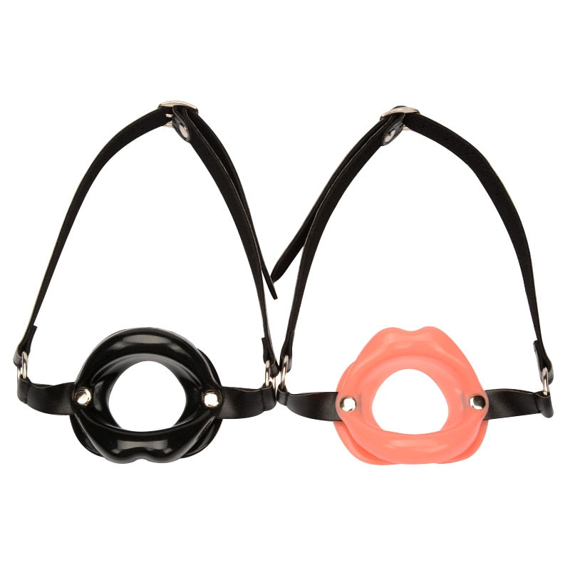 Genuine Leather & Rubber Open Mouth Lip Gag