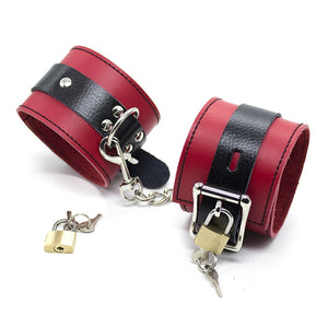 Genuine Leather Handcuffs & Ankle Cuffs With Lock Restraints