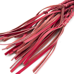 Genuine Leather Knitted Red Flogger