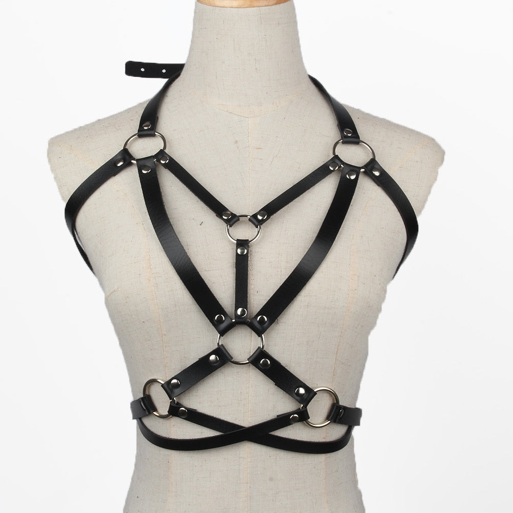 Black Genuine Leather Women's Harness