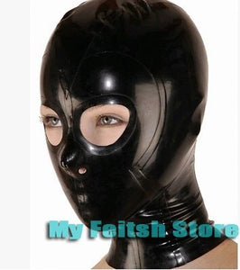 Latex Hood with Open Eyes and Nose Holes