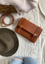 Load image into Gallery viewer, Cognac Leather Crossbody Clutch Fall Collection