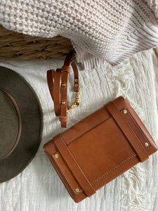 Cognac Leather Crossbody Clutch Fall Collection